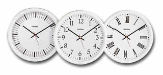 Horloges sans inscripiton, à chiffres arabes et à chiffres romain