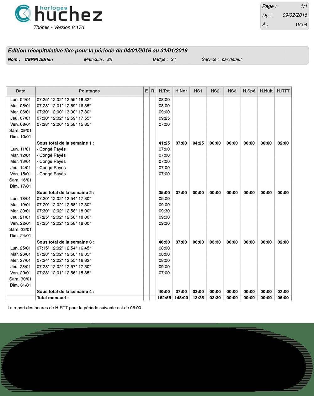 Page récapitulative logiciel de pointage