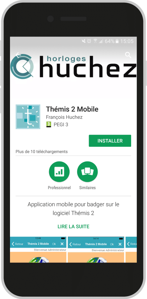 Application pointage Thémmis de Huchez pour Android