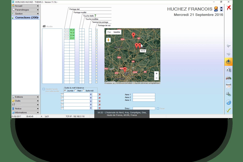 Ecran de consultation des pointages logiciel Huchez